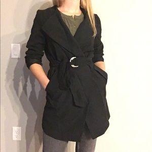 NWOT H&M lightweight black wrap coat w/ tie waist